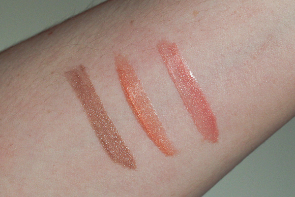 Swatches from left to right: Bronze Shimmer, Sunset Peach, and Peony.