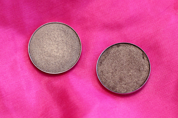 MAC eyeshadows (pro pans) in Woodwinked and Mulch.