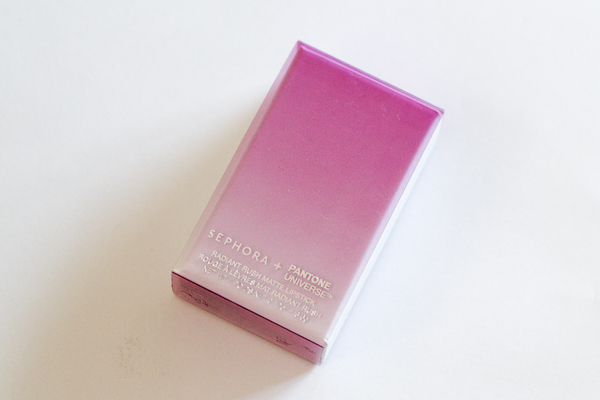 The outer packaging or Sephora Radiant Rush Matte Lipstick is a but over the top—I guess they're trying exta-hard to position it as a collector's item!