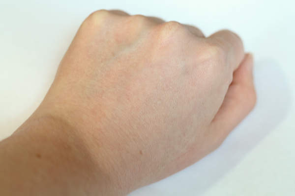 MUFE HD Primer blended in to the right side of my hand.