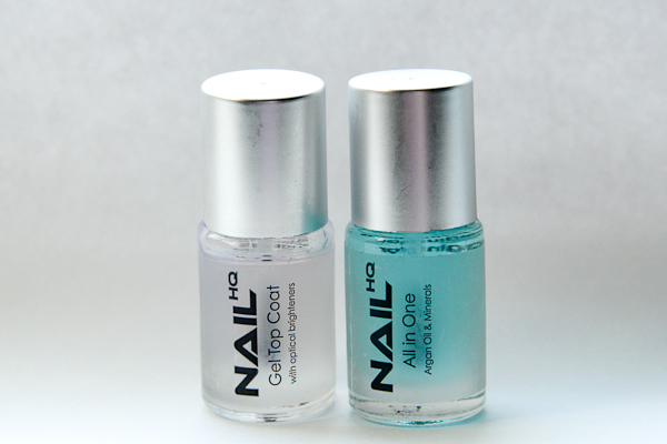 Gel Top Coat and All-in-One Base Coat by Nail HQ.