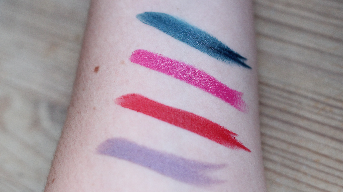 Make Up For Ever Artist Rouge Lipsticks. Top to bottom:  C603, C207, M401 and C502.