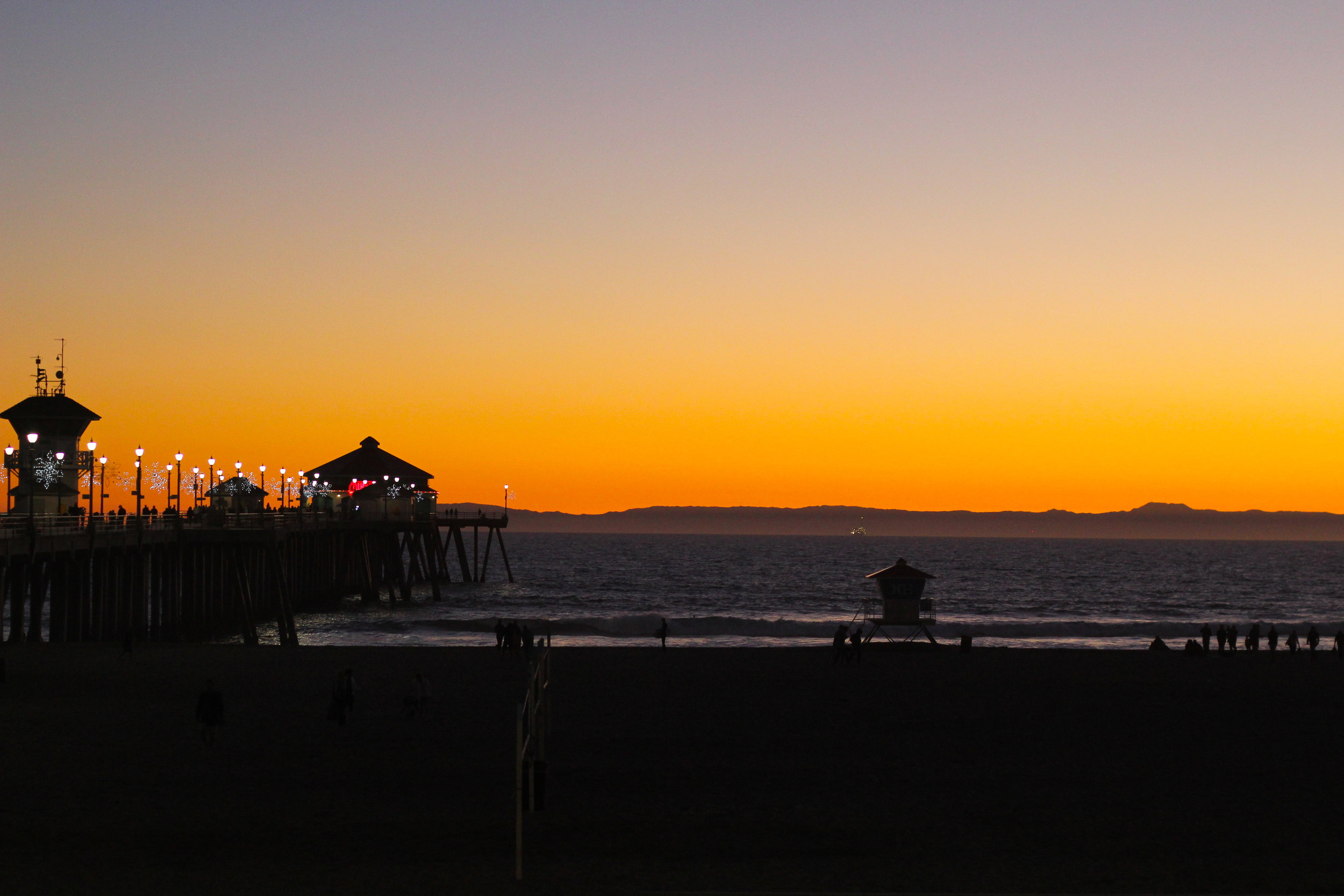 Sunset in December at Huntington Beach, California.