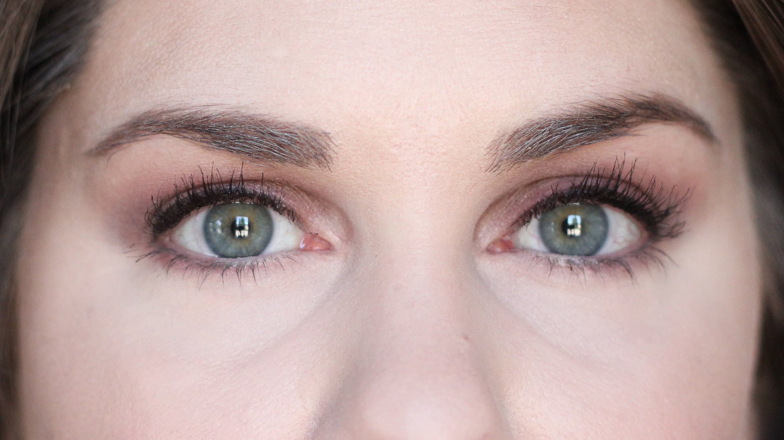 One coat of Givenchy Noir Interdit Mascara. This is about 10-12 swipes per eye. (Top lashes only.)