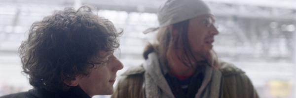 Jesse Eisenberg and Jason Segel as David Lipsky and David Foster Wallace, respectively, in James Ponsoldt's  The End of the Tour {Photo: A24}