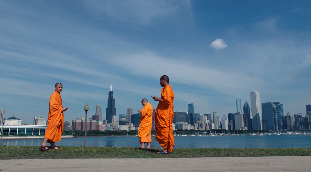 Monks in Chicago in a scene from Werner Herzog's  Lo and Behold  {PHOTO: MAGNOLIA PICTURES}