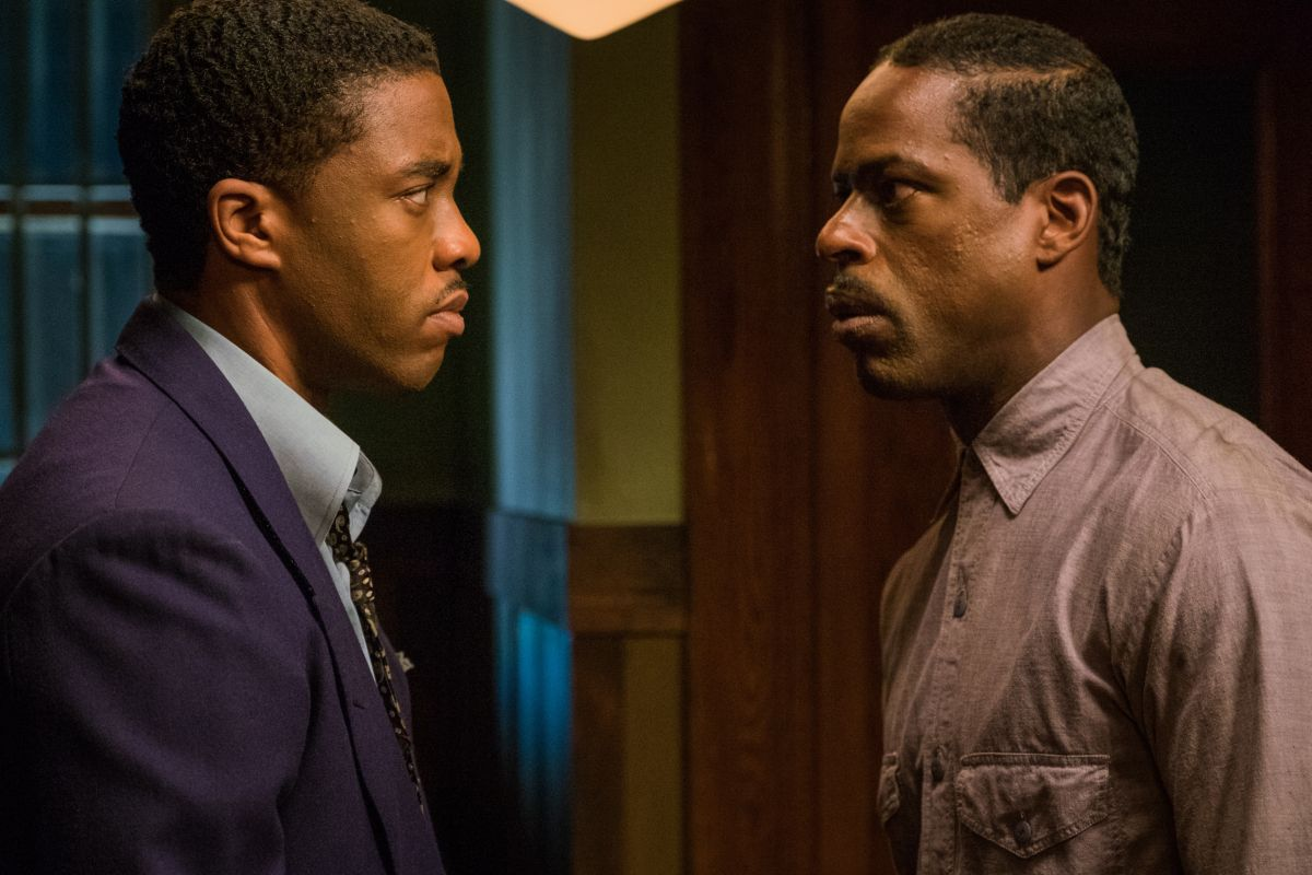 Chadwick Boseman and Sterling K. Brown in a scene from Reginald Hudlin's  Marshall  {Photo: OPEN ROAD FILMS}