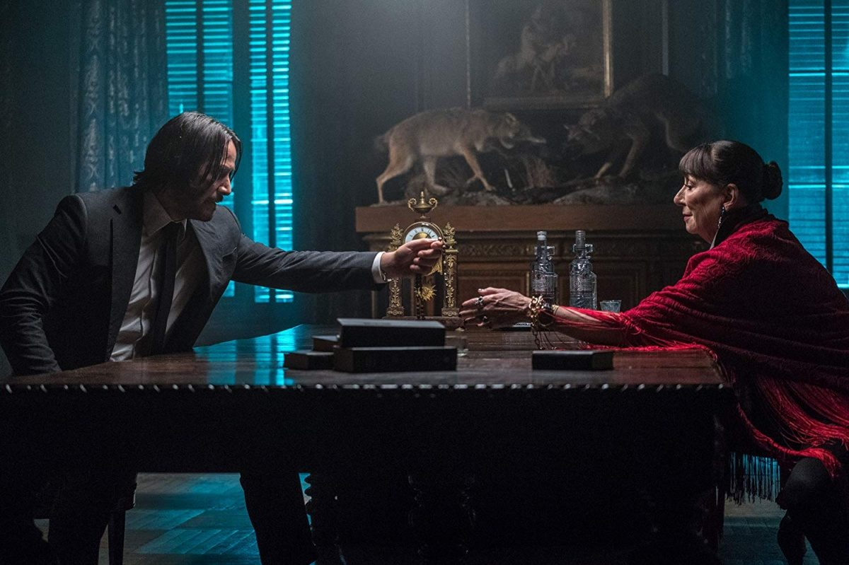 Keanu Reeves and Anjelica Huston in  John Wick: Chapter 3 - Parabellum  {Photo: LIONSGATE}