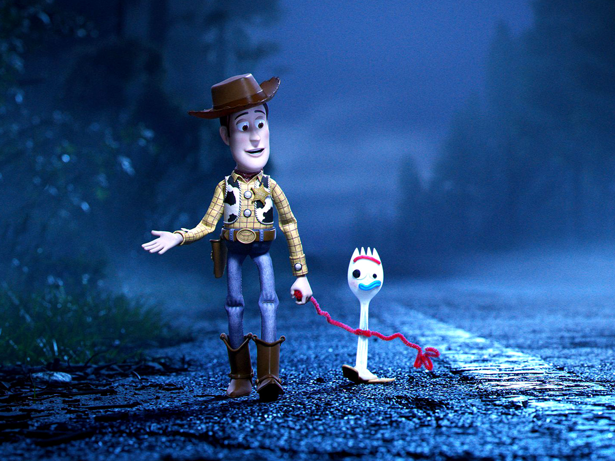 Woody (Tom Hanks) and Forky (Tony Hale) in a scene from Josh Cooley's  Toy Story 4  {Photo: PIXAR}