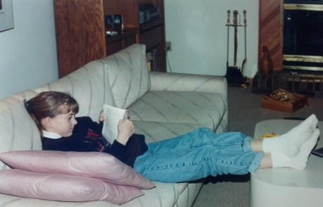 14-year-old me reading. Yeah turtlenecks and cuffed jeans! Also demonstrating my excellent posture.