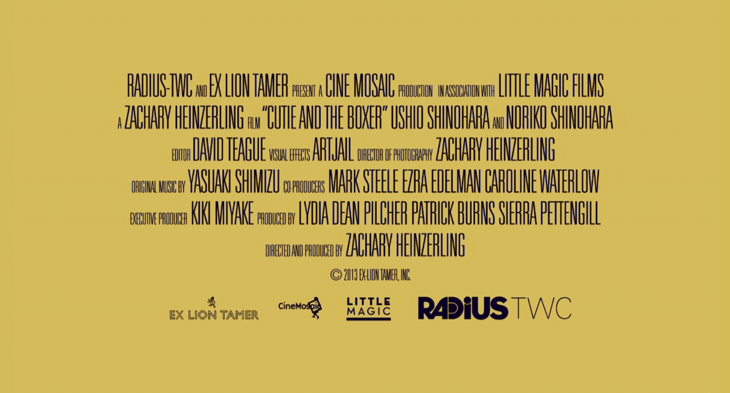 Visual Effects and Animation by Artjail. On the 'Cutie and the Boxer' trailer end credit card.