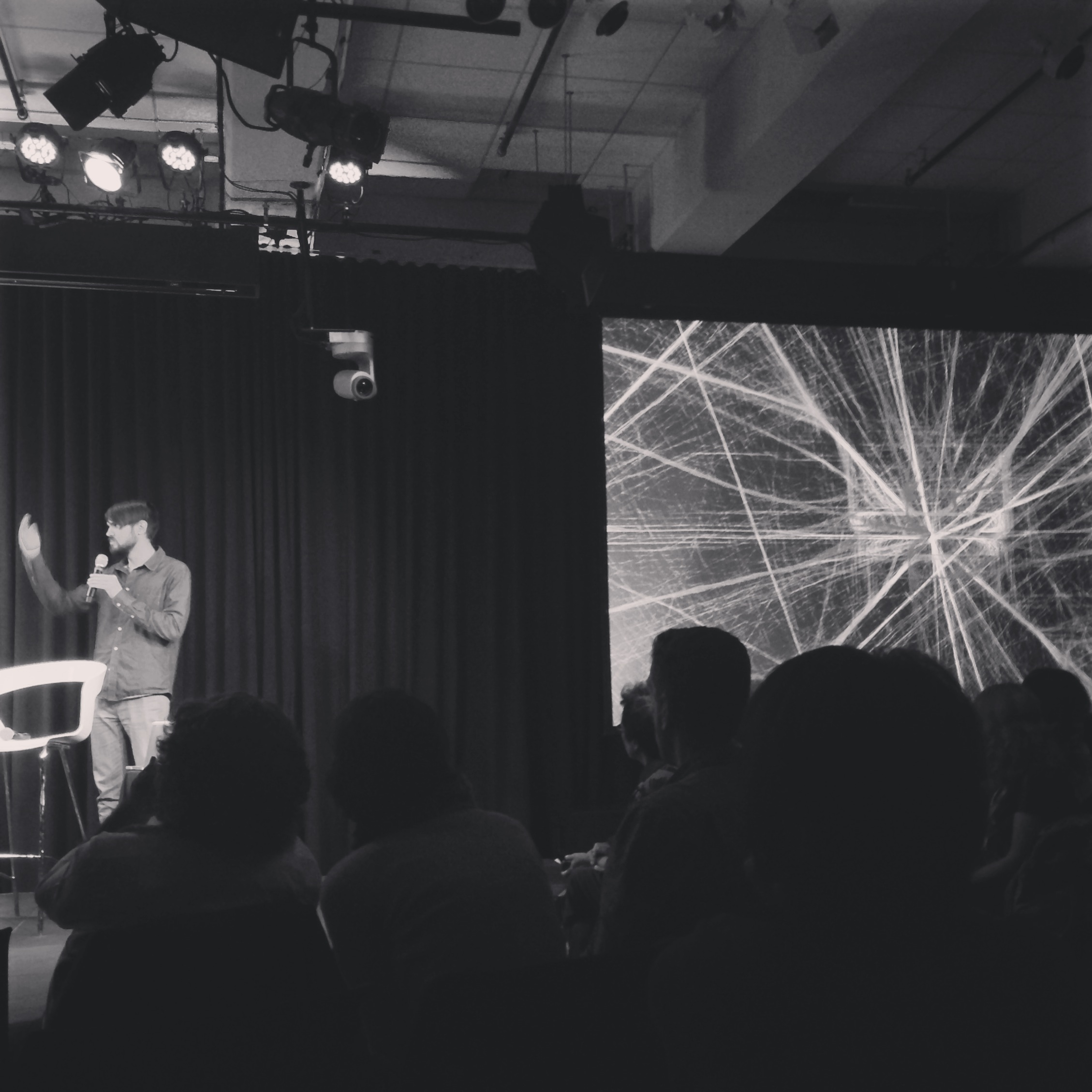 Aaron Koblin talking about merging science and art. At Google NYC.
