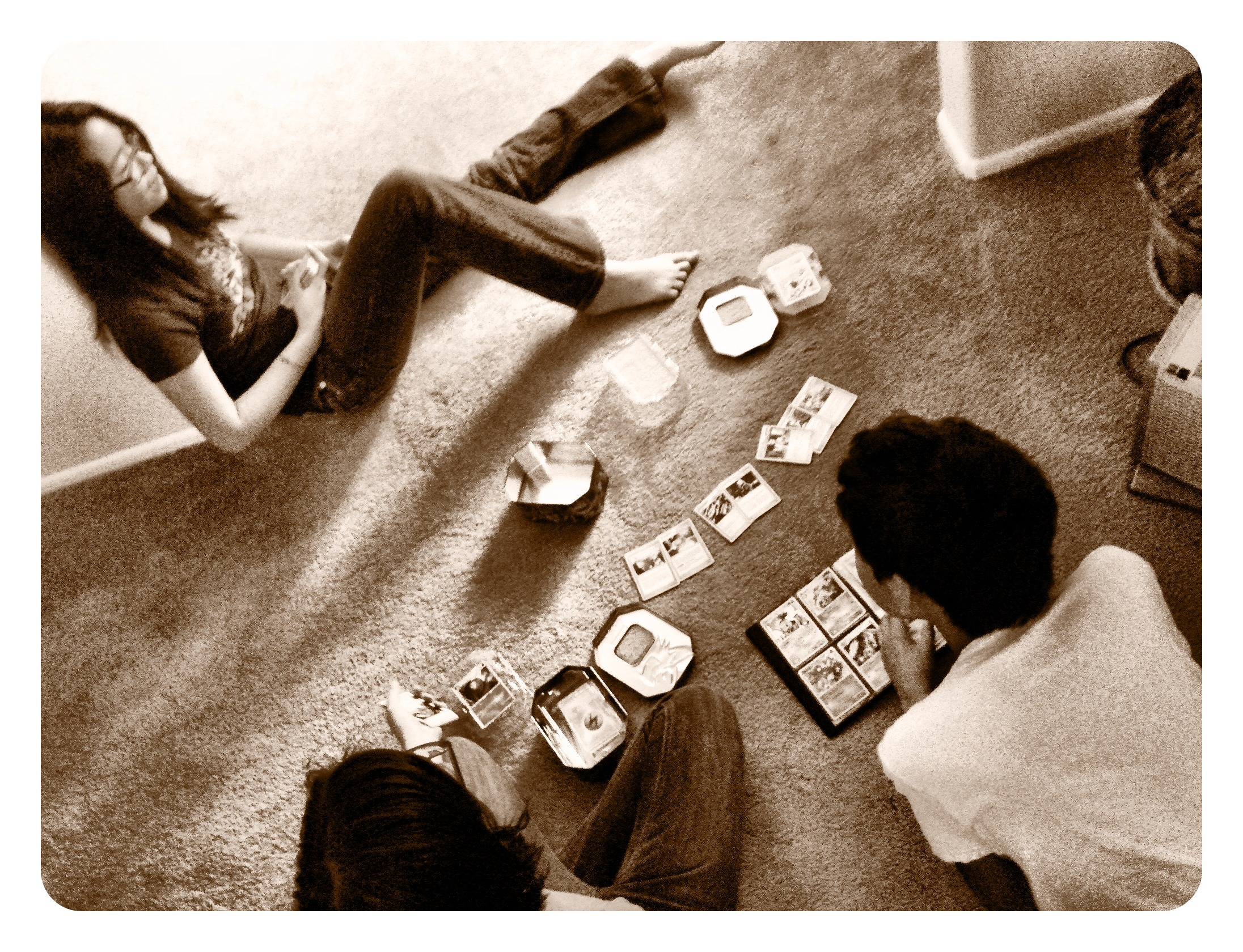 Kids trading Pokemon cards