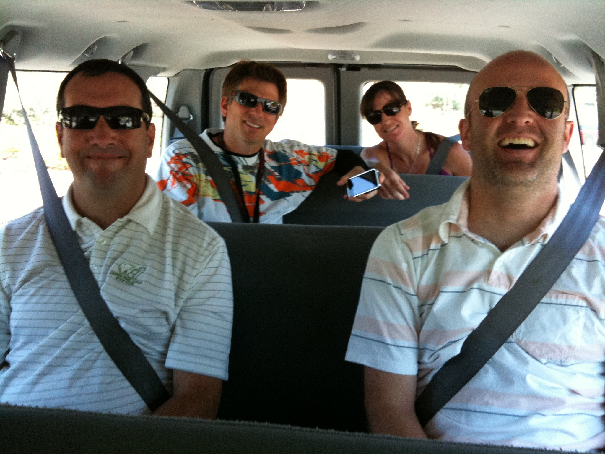 On our way to the web mgmt team offsite meeting.
