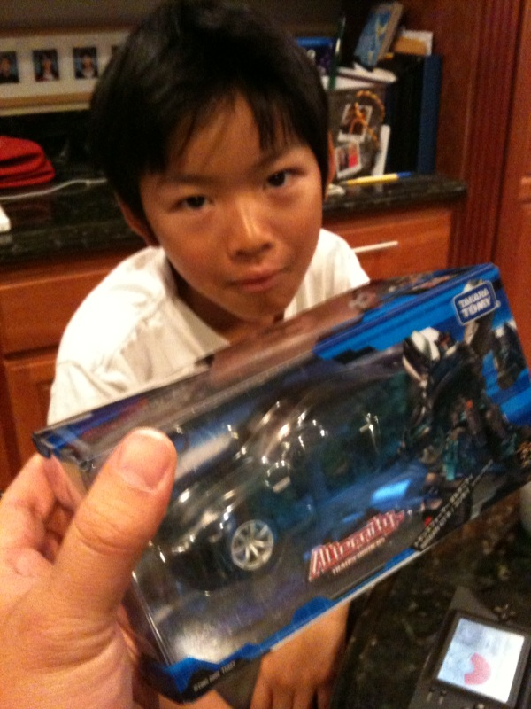 Sulking boy since the GT-R Transformer that came today isn't his.