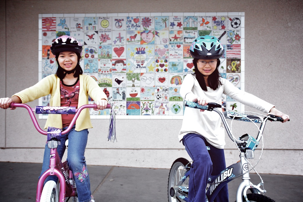 Daddy Day: Girlies riding bikes at school