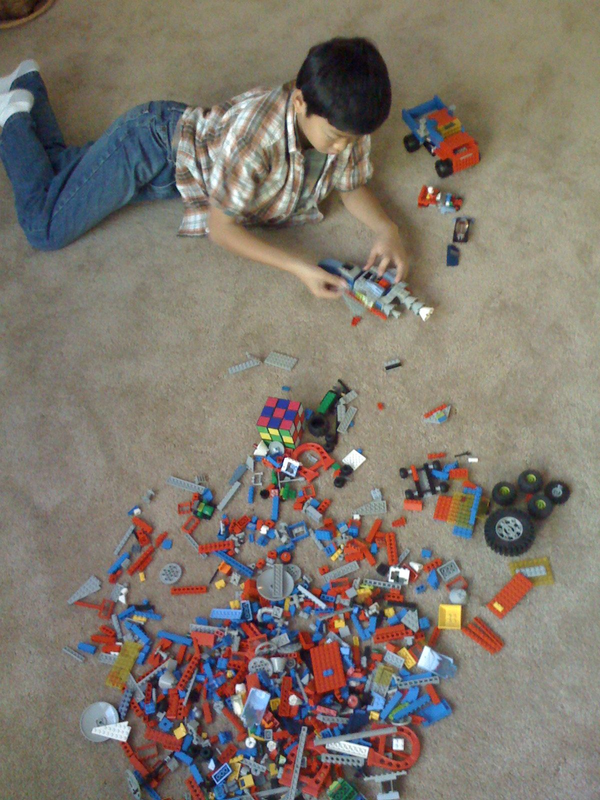 Building Legos with the boy