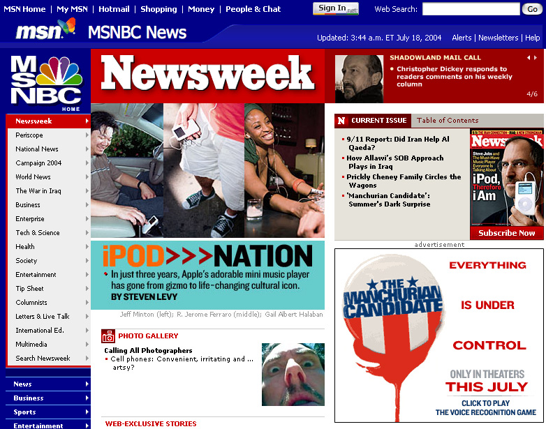 Newsweek Homepage, July 2004