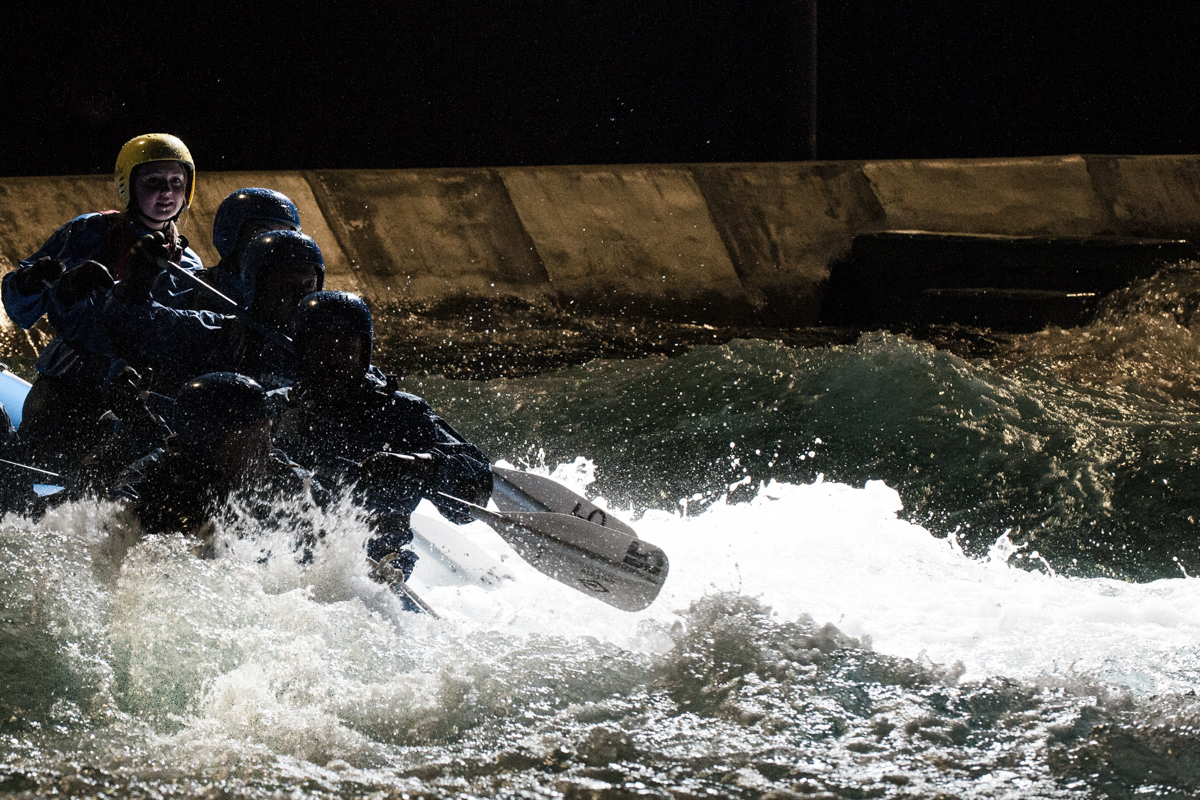 White Water Rafting at Lee Valley, the same course as used in the London 2012 Olympic Games. Unlike at the games, I could rig strobes around the course, in this case on an overhead gantry. Brilliant fun to shoot.