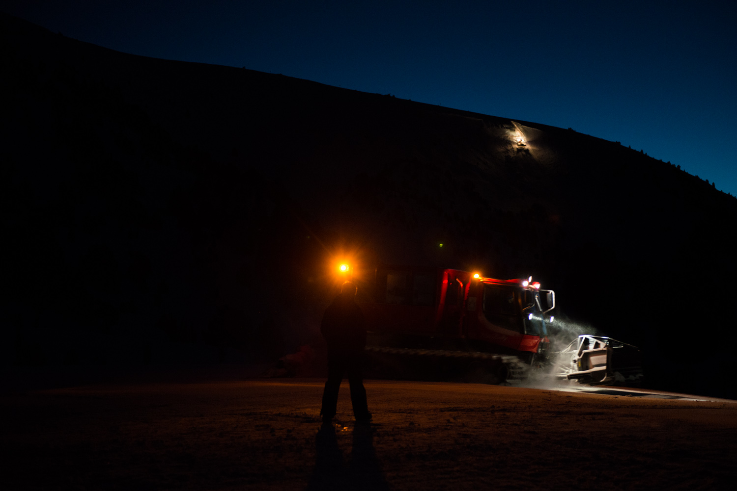 Went for a ride in one of the amazing Piste Bashers that drive up amazingly steep slopes all night to refresh the snow
