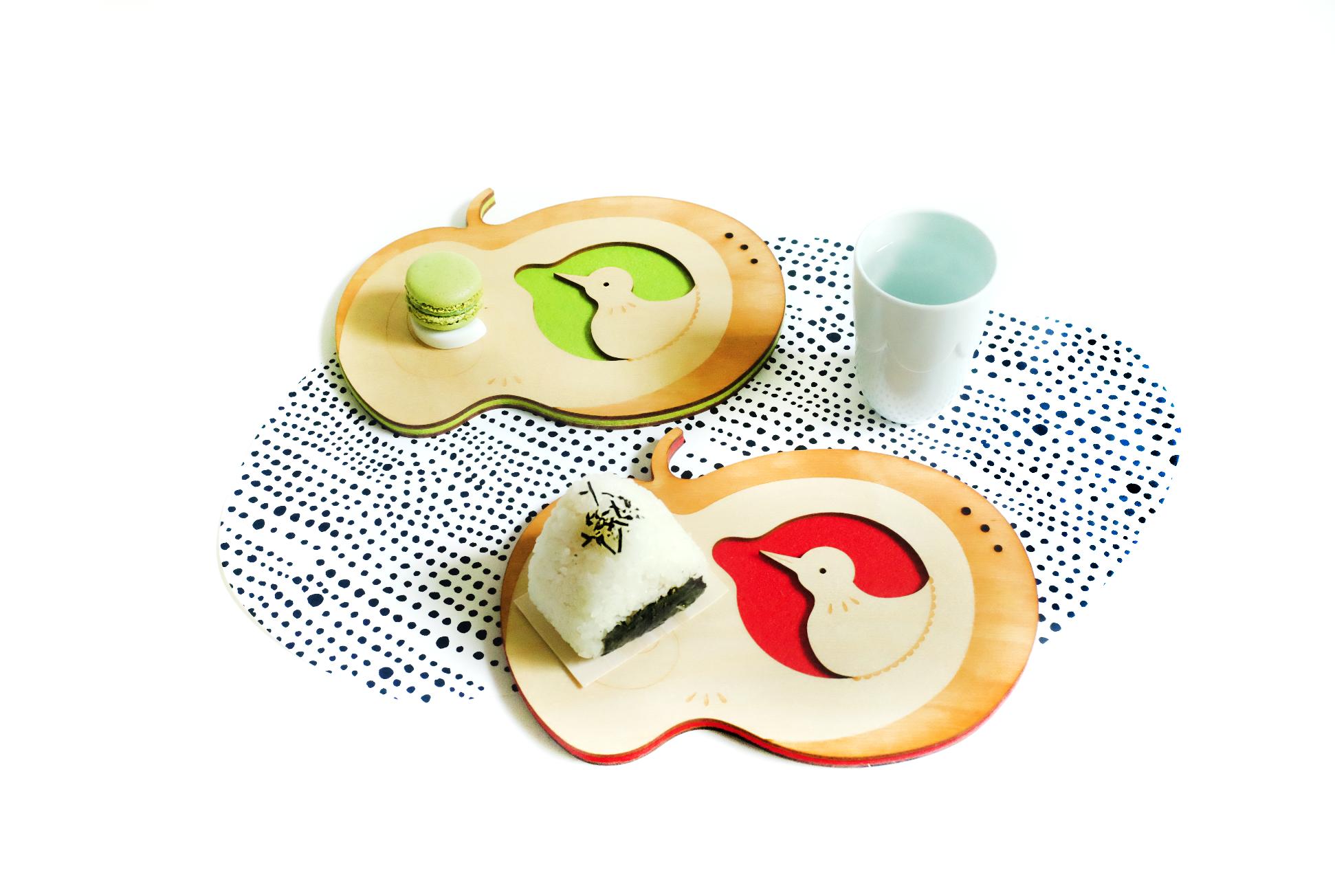 Apple Bird Coaster Tray