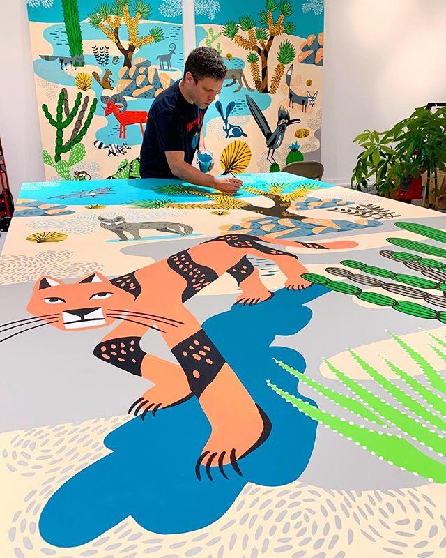 @crumjay doing some final touch ups on the @trailsendmodern mural 🌵 . . . . . . #mural #triptych #modern #pioneertown #palmsprings #joshuatree #yuccavalley #california #floraandfauna #artoncanvas #serendipity #acryliconcanvas #artistsoninstagram #californiadesert #joshuatreenationalpark #mojavedesert #yucca #palmdesert
