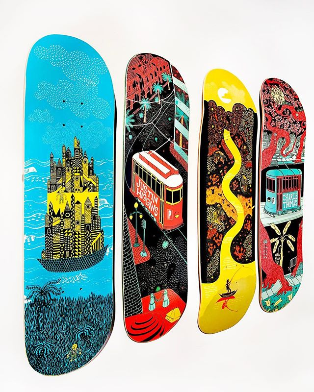 We are in love with these skateboard graphics by Taropop artist @crumjay for New Orleans based Preservation Board Co. . . . . . . #skateboardgraphics #skateboardgraphic #neworleans #skateboardingisfun #skateboardartist #skateboarder #taropop