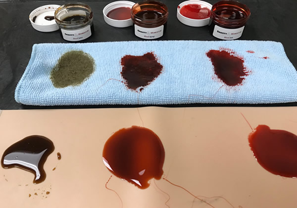 From left to right we have: Blood Juice, Blood Syrup and Blood Jam. I poured some on each material and let them sit/soak in overnight.