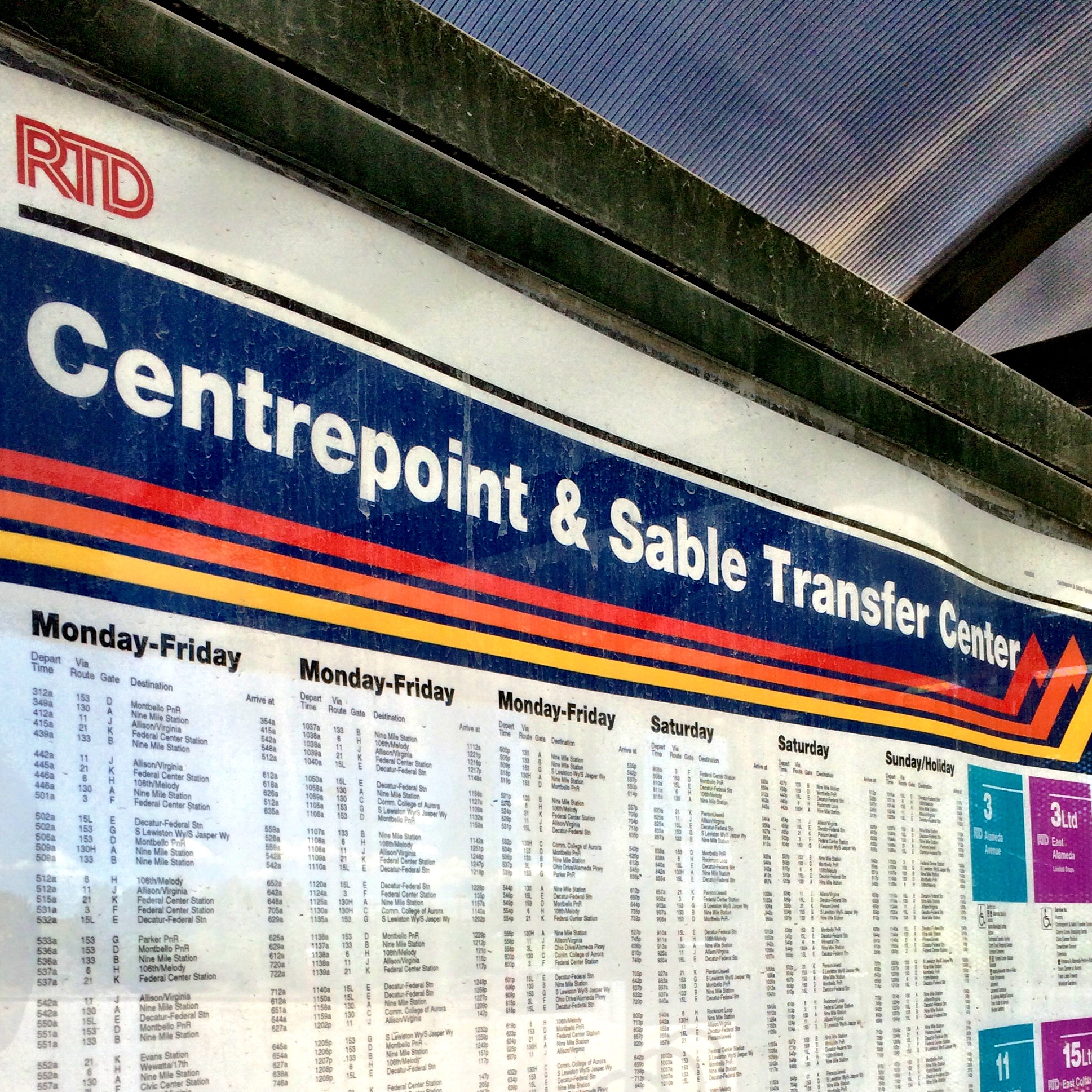 RTD bus schedule at Centrepoint & Sable