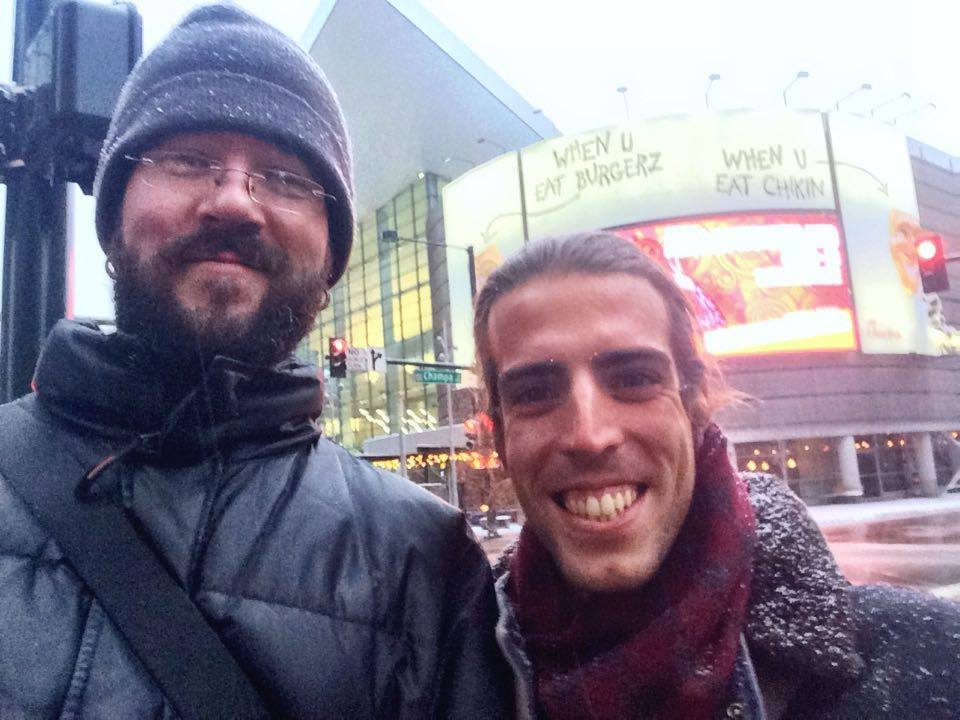 Ryan and Alberto in the snow in Downtown Denver