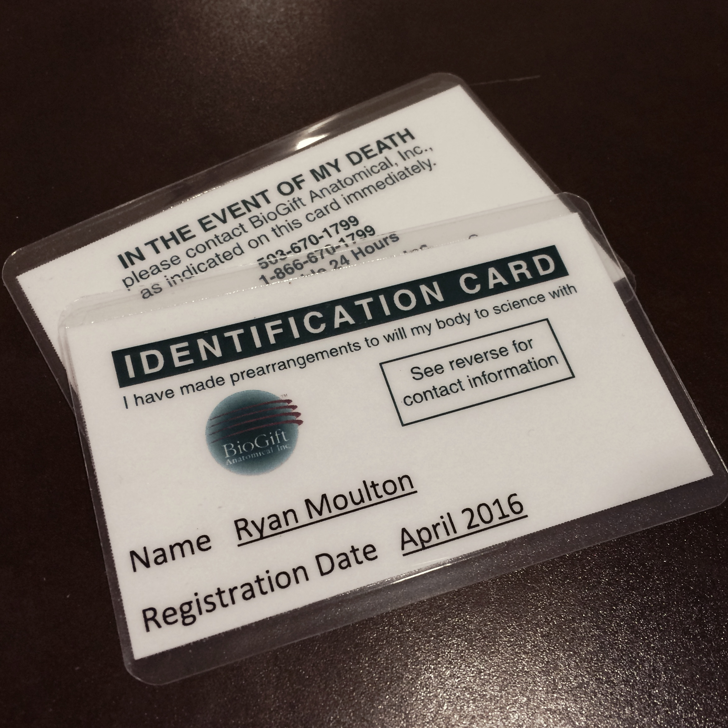 ID Cards for BioGift - In the Event of My Death