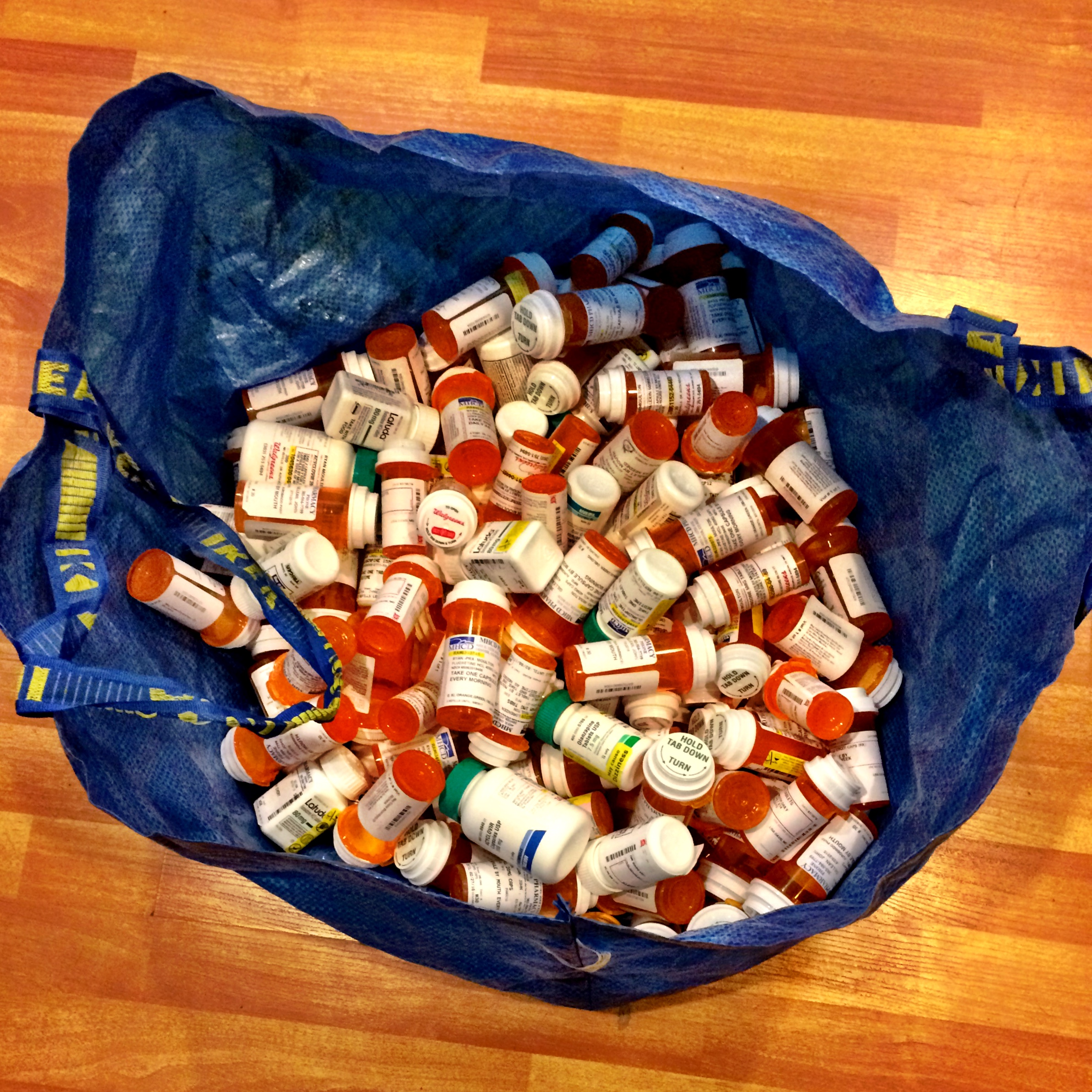 I don't know why, but I have kept all of the medication bottles since I started psychiatric care. This picture was taken in Oct 2016. This is a standard blue Ikea bag, and it is now reaching full.