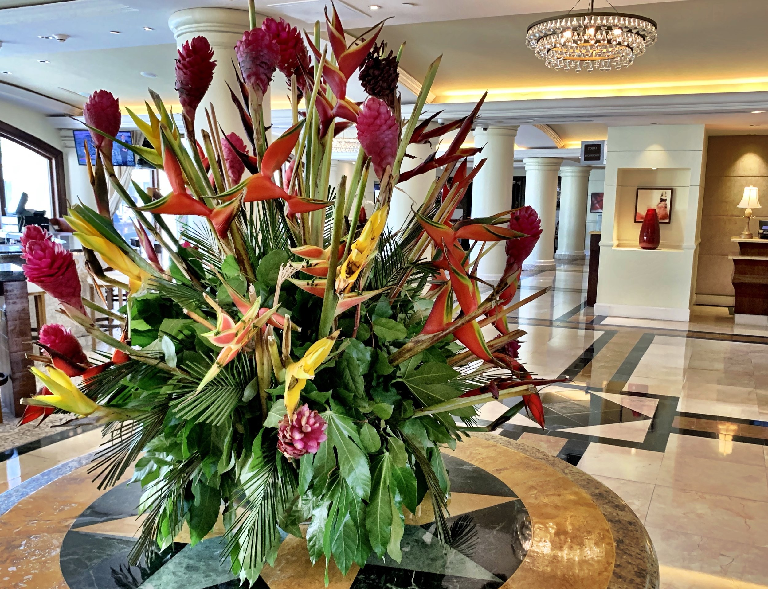 The flowers in the Intercontinental in San Juan Puerto Rico are gorgeous.