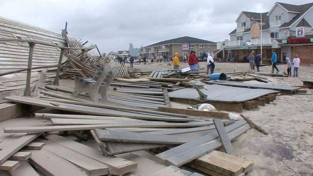 Belmar's boardwalk splintered after Hurricane Sandy