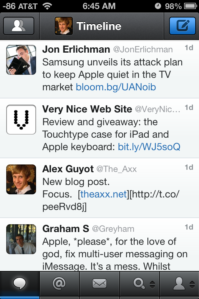 Left Side Avatars on your own tweets make it much more difficult to pick your tweets out of your timeline.