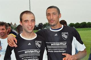 Fouad Rameche arrive à Champvent en 2006, avec son pote Adrien Munos. Ici un soir de promotion en 2e ligue.
