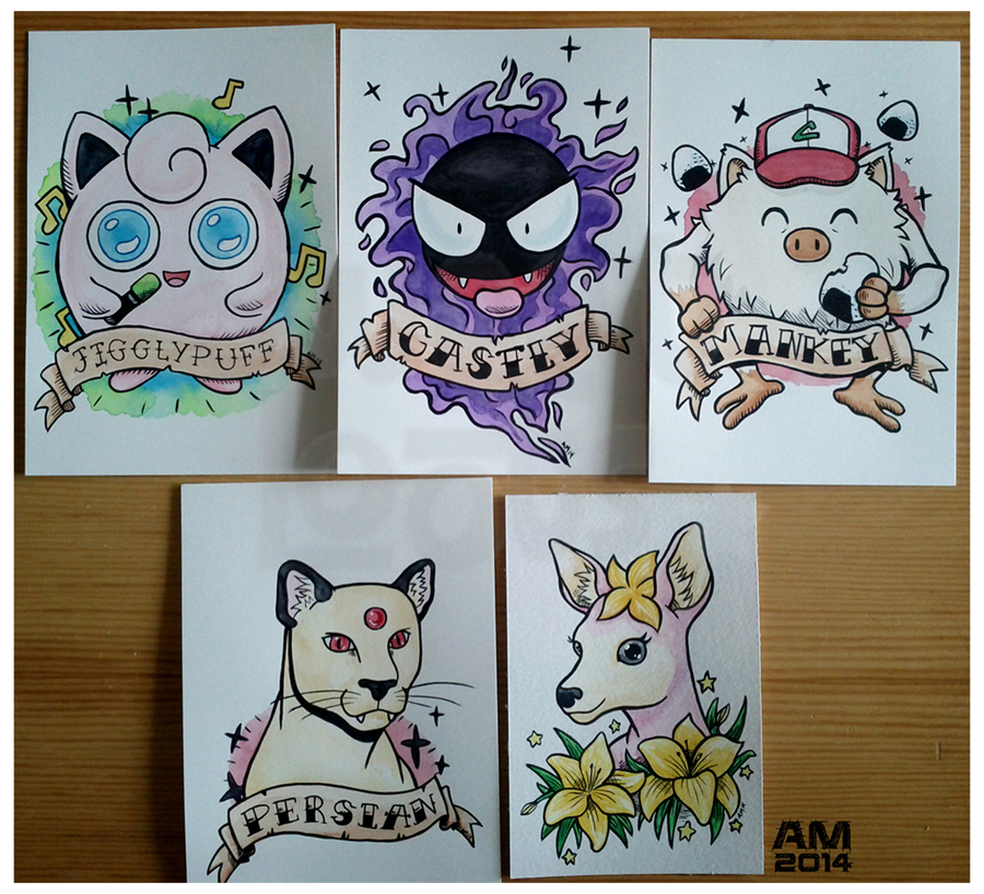 Tattoo inspired paintings of some of my favorite critters.  Pokémon