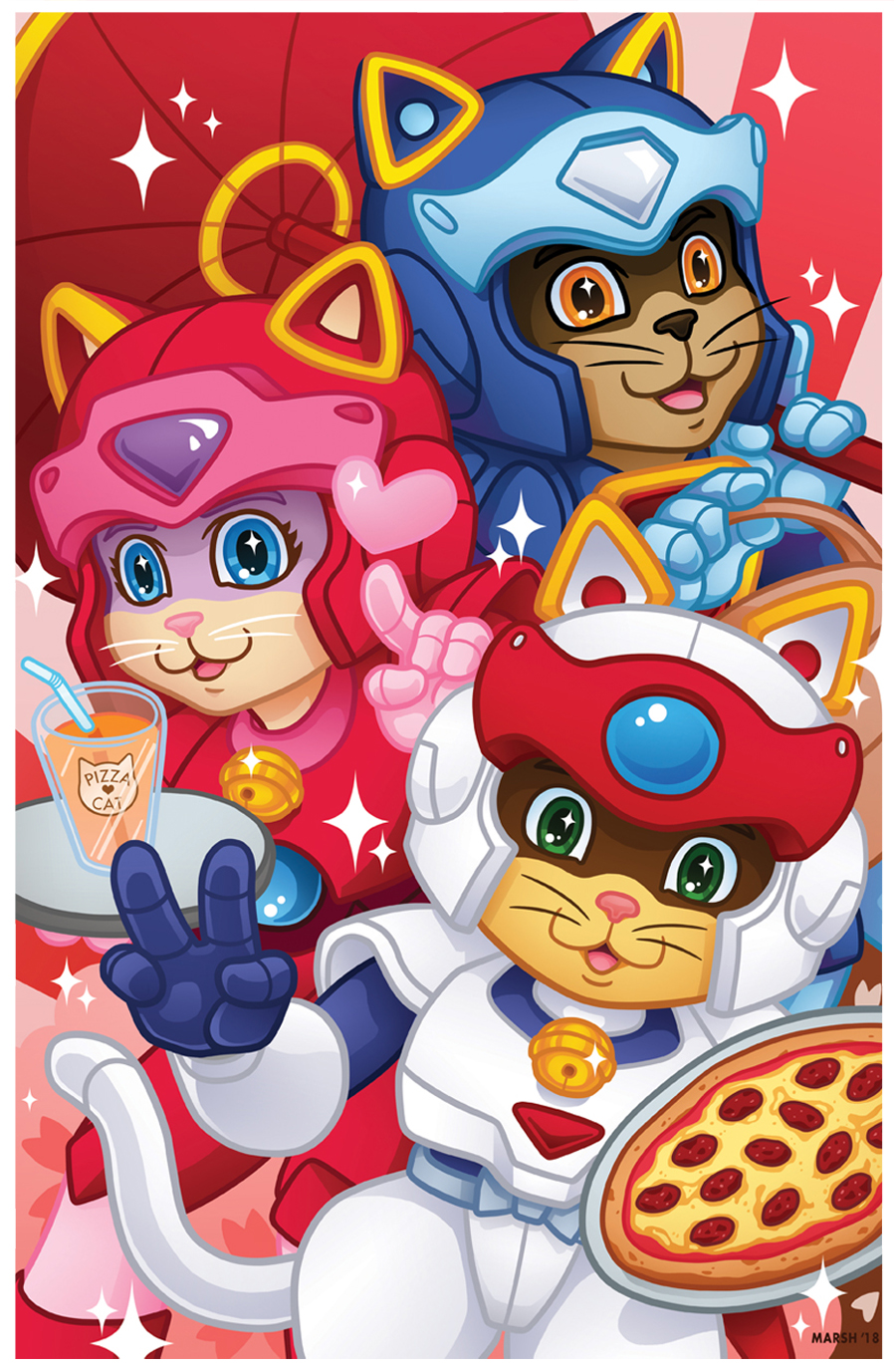 Samurai Pizza Cats! Ooh, Yeah! Started off as one of the weekly sketches that  DigiFlohw  and I do and then I totally had to finish it.