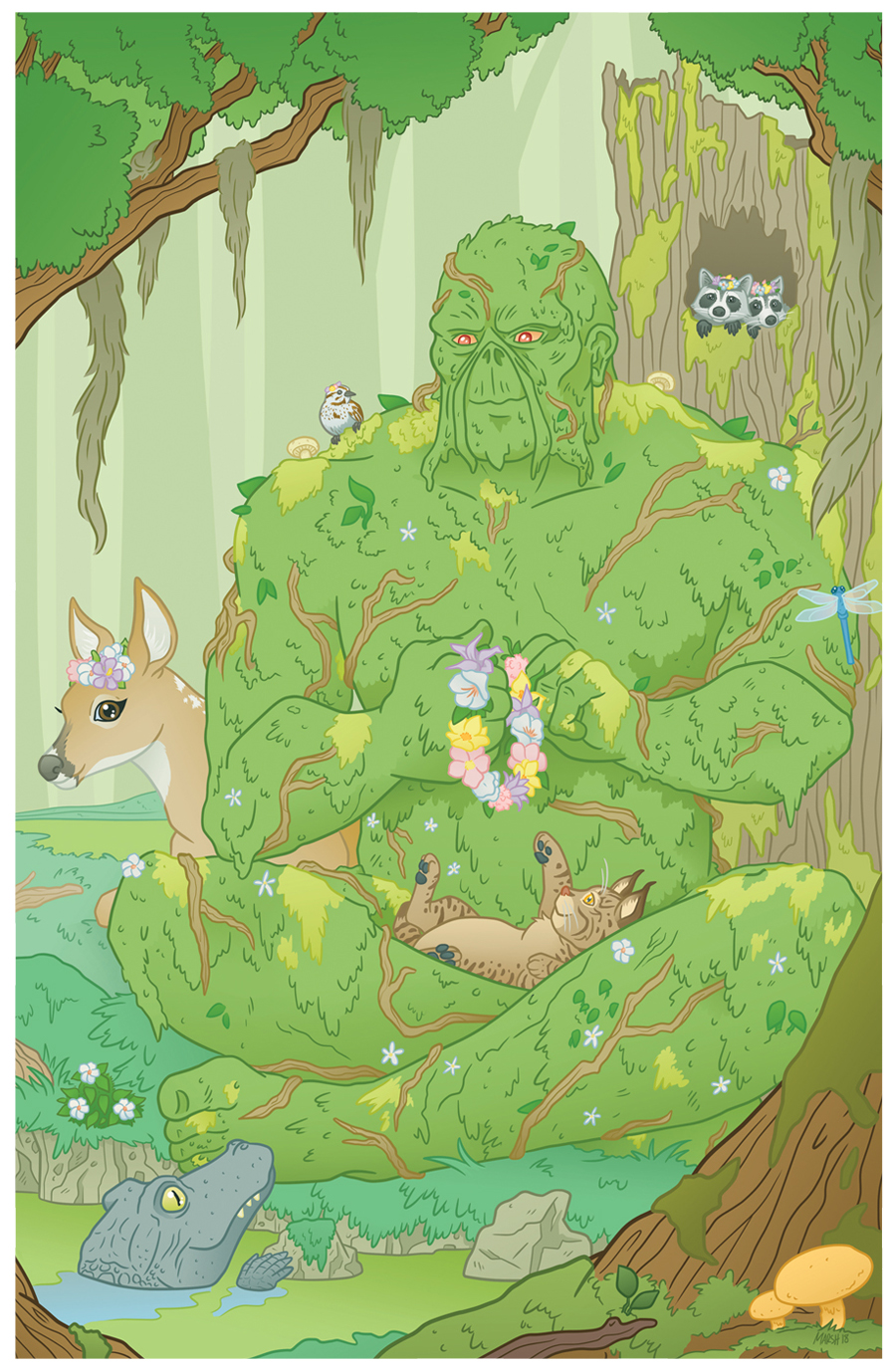 Swamp Thing hanging out with all his pals!