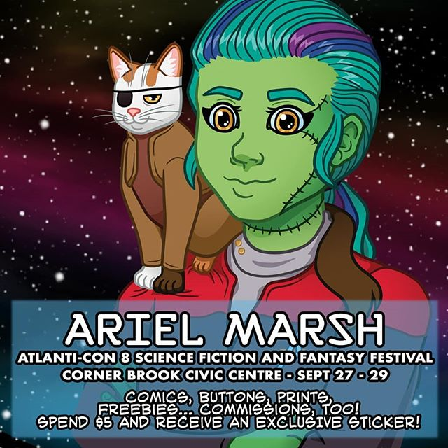 Hello, friends! This weekend I'll be attending @atlanti_con as their guest artist!  I'll be bringing lots of comics, prints and other goodies from Ink'd Well Comics, @digiflohw, and me! I'm super stoked for the weekend and looking forward to talking art with you all! Yeah! 🖖  #atlcon8 #atlanticon #cornerbrook #newfoundland