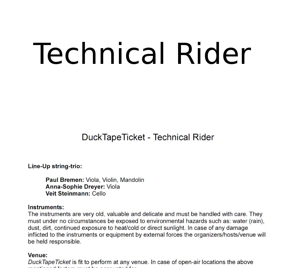 TECHNICAL RIDER ENGLISH
