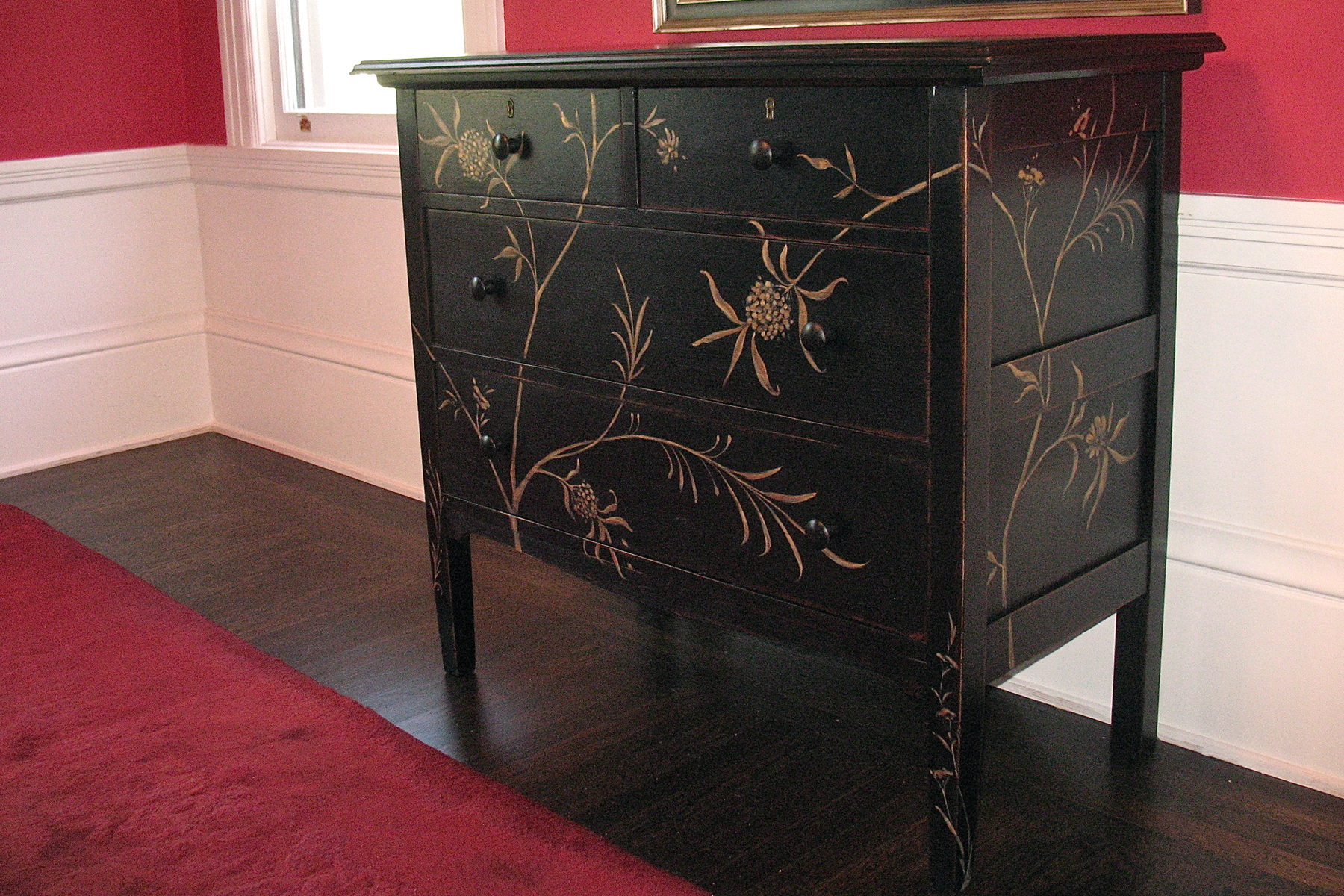 Soft black finish with hand painted metallic floral
