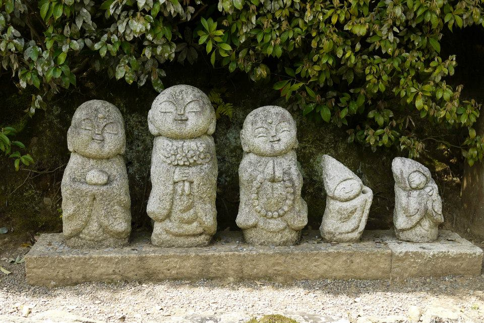 Stone sculptures along the wayside in Arashiyama, Kyoto