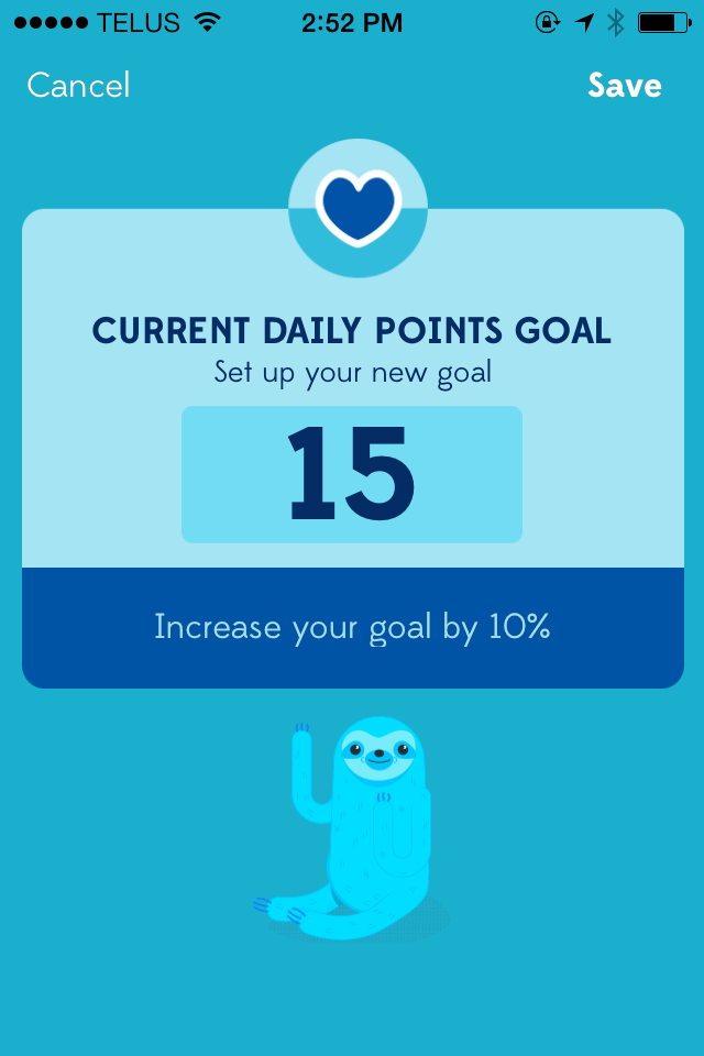 Set your daily points goal in the Settings.
