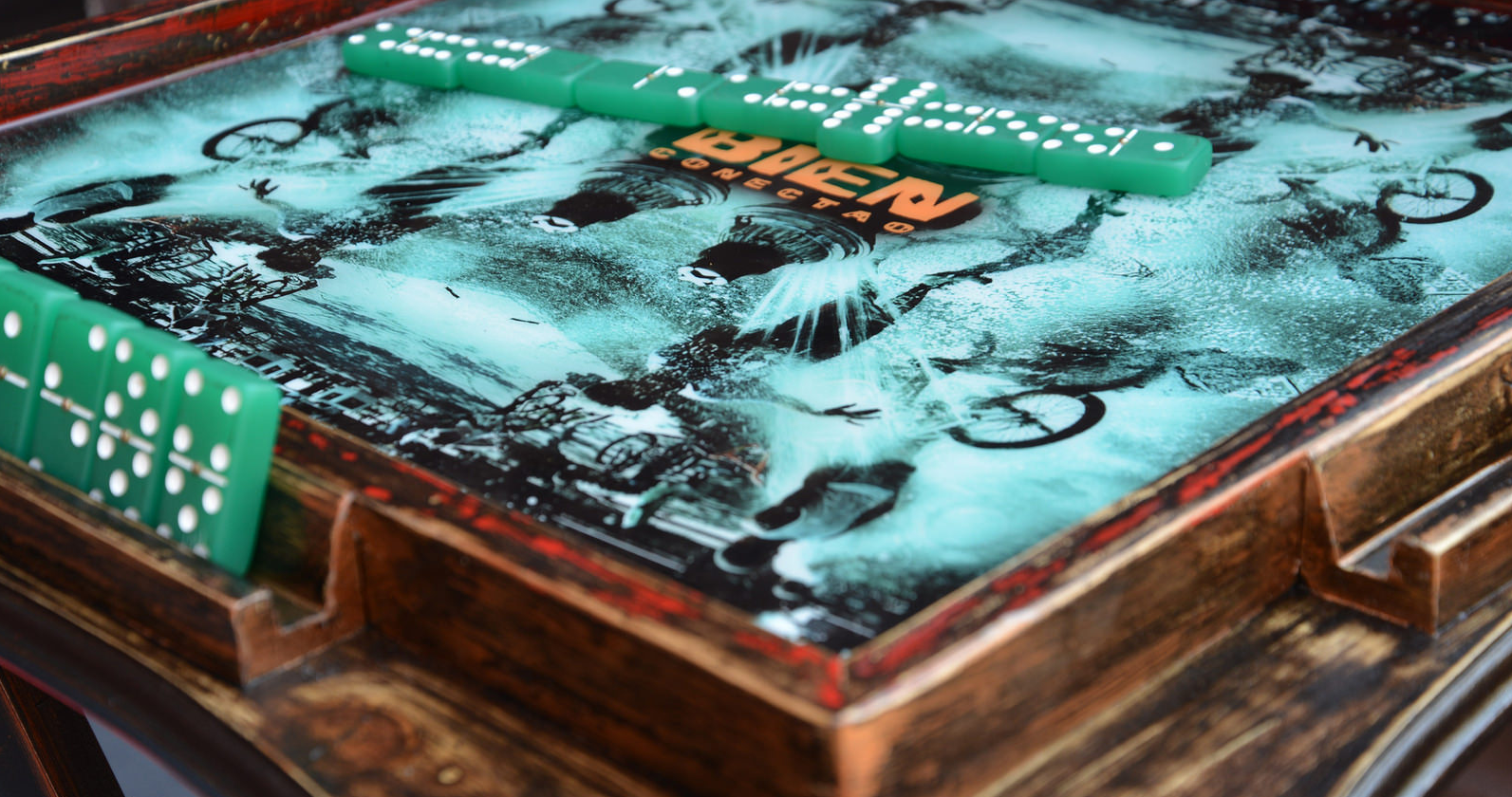 AFM Custom Hand-Painted 'Block Party' Table for Bien Conectao. Table graphic AFM X SeeThruMoney Photography.