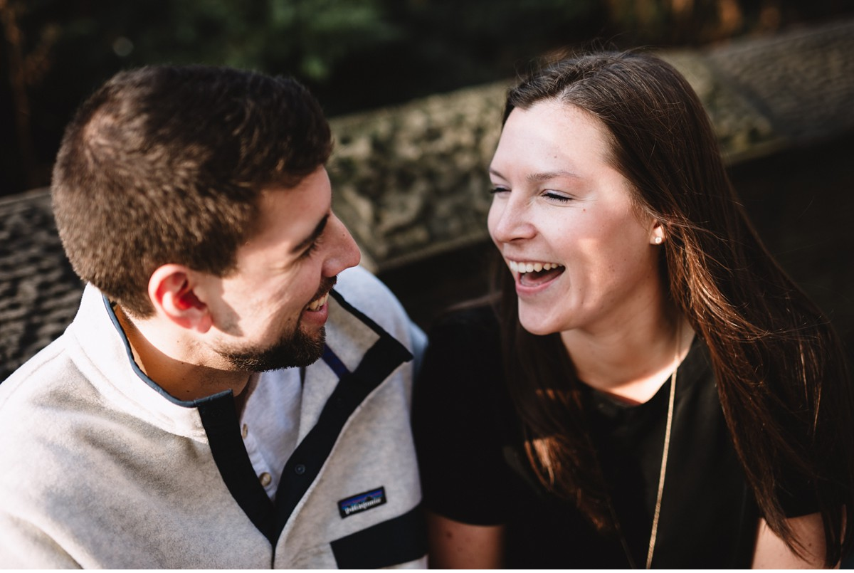 Laughing couple during New York City Engagement Session.