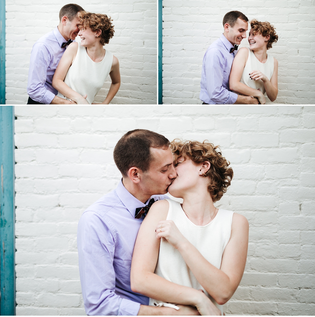 Triptych of couple during in home engagement session