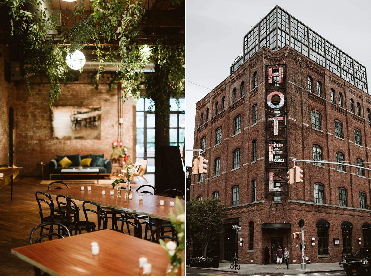 Interior and exterior of the wythe hotel in brooklyn new york city