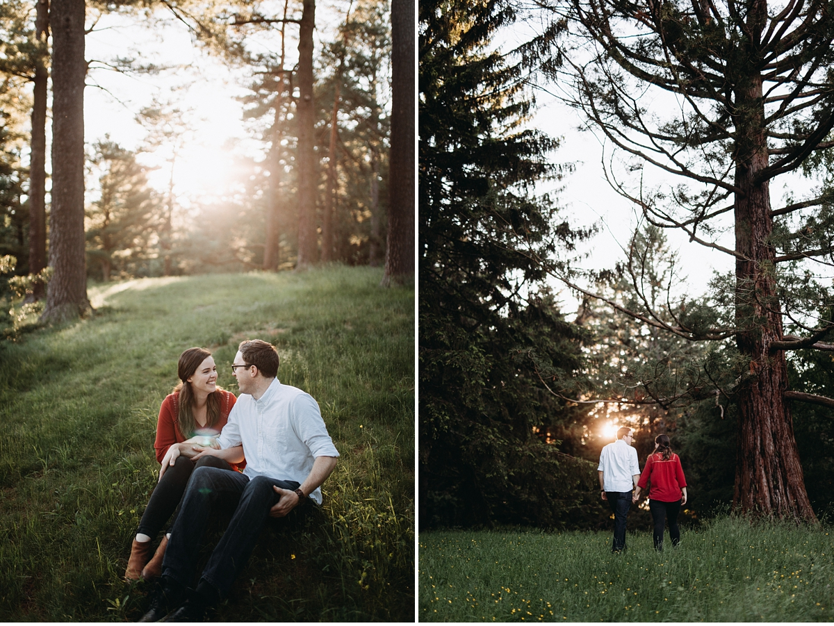Diptych with couple cuddling in grassy glen and couple walking towards sun soaked trees