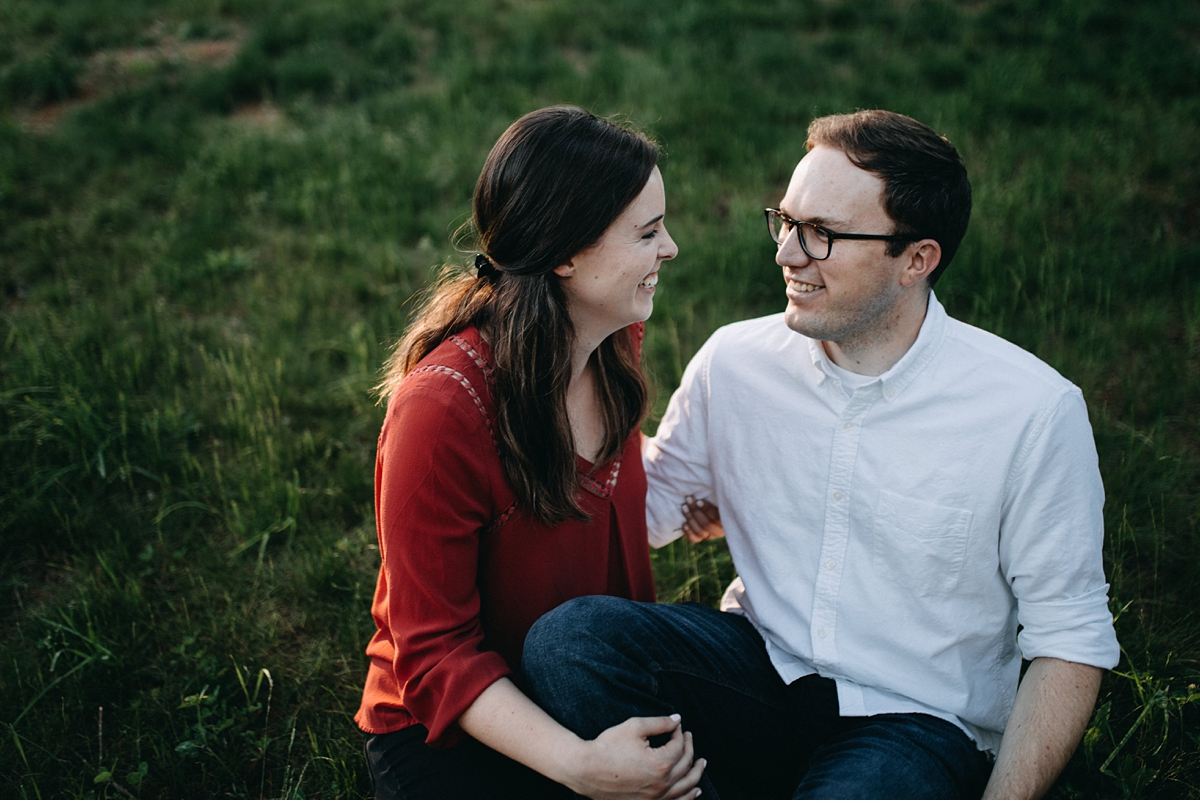 Evening engagement session during golden hour